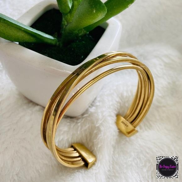 Monet Gold Tone Cuff Bracelet EUC